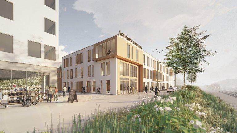 Förslag på Åstorps kommunhus. Visualisering av Karin Petterssons Arkitektbyrå.