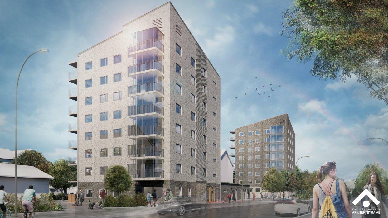Flerbostadshus på Högasten i Helsingborg ritade av Karin Pettersons Arkitektbyrå AB för Helsingborgshem AB.